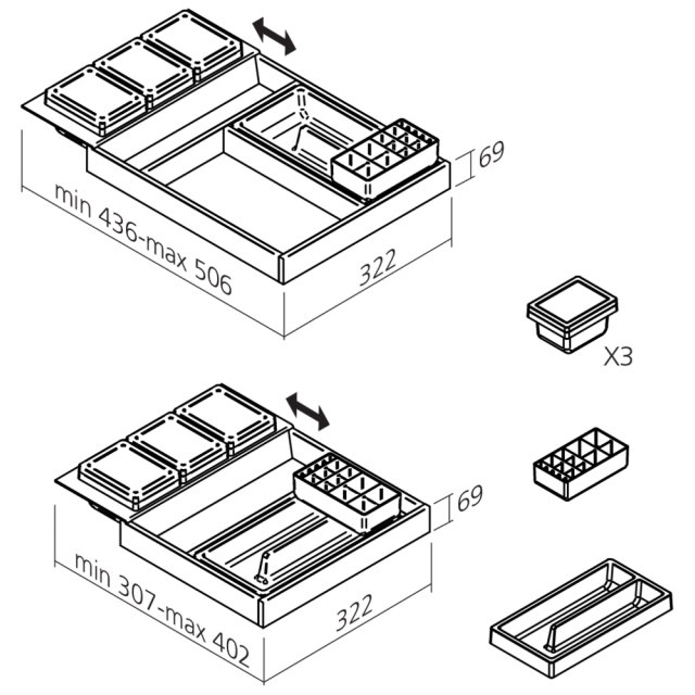 Range accessoires Gris anthracite