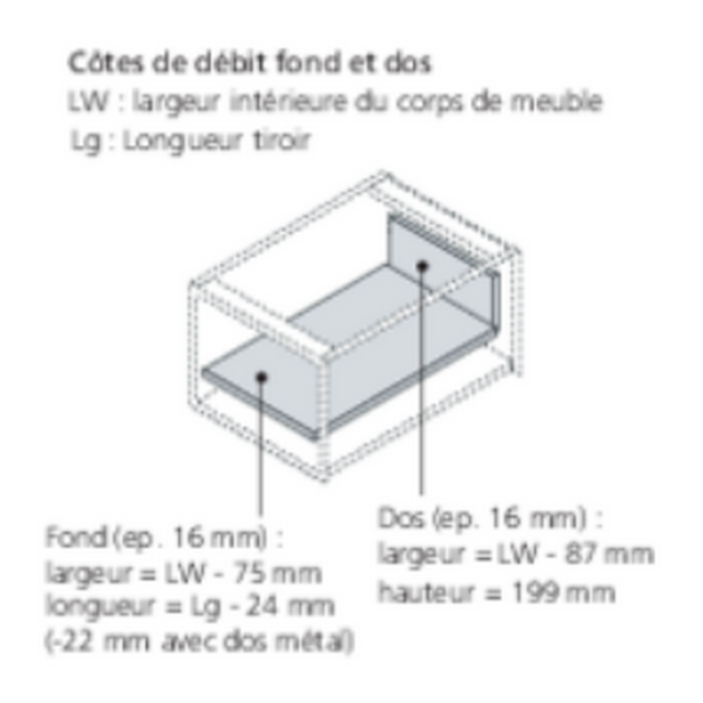 Kit tiroir à l'anglaise Boxcover h 224mm