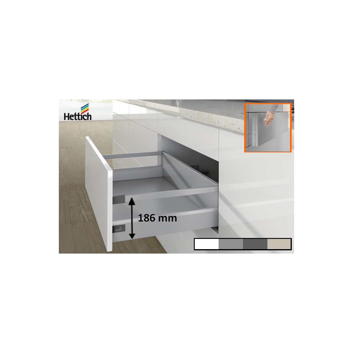 Kit tiroir casserolier Hettich Hauteur 186mm